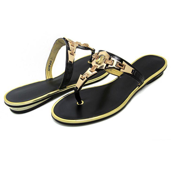 Brand 2016 New Arrival Women's Shoes Women Sandals Flat Casual Sandals Metal Gladiator Beach Flip Flops Leather Plus Size US 12 - CattleyaStore CattleyaStore