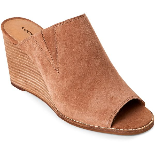 Lucky Brand Sesame Jillah Peep Toe Wedge Mules ($60) ❤ liked on Polyvore featuring shoes, beige, peep-toe mules, lucky brand shoes, slip on mule shoes, wedge mules and wedge mules shoes