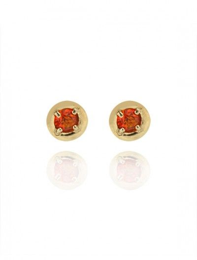 Gold Fire Opal Stud Earrings - Available at Onyx Goldsmiths