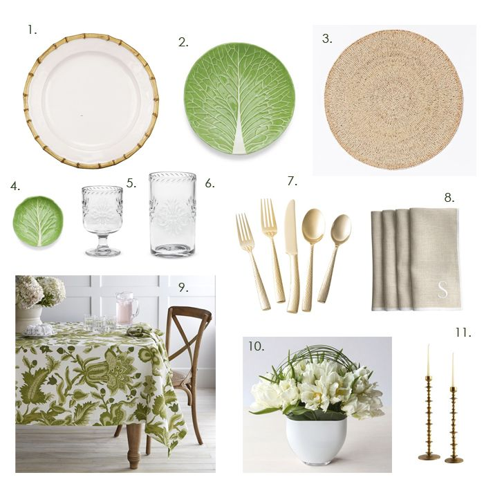 cabbage leaf style dinnerware - new tabletop collection from Tory Burch and famed Palm Beach potter Dodie Thayer.