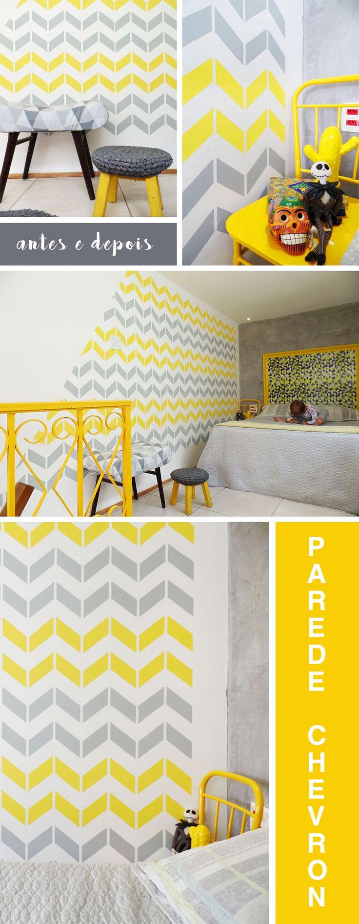 Antes e Depois Parede Chevron Estêncil Amarelo e Cinza, Brasilux, Stencil Decor, Blog Remobilia
