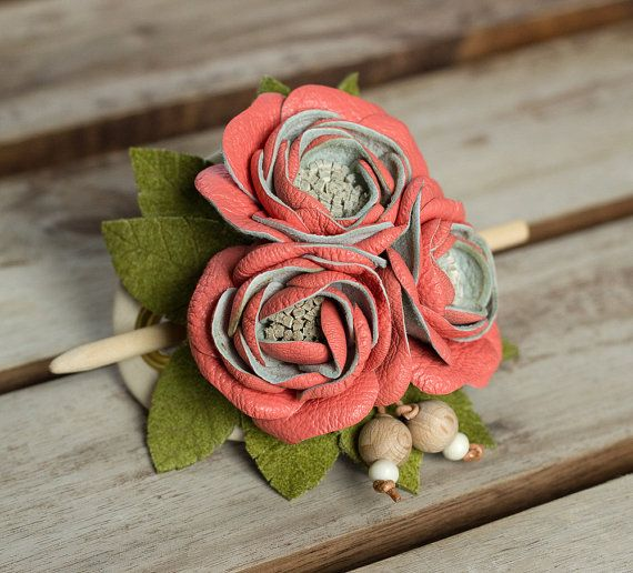 Leather hair stick barrette, hair slide, hair pin with Flowers - color: Salmon +  Apple Green, Small