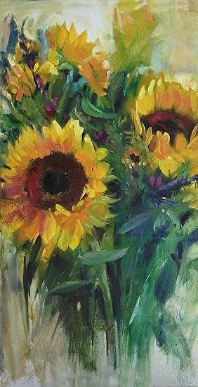 "Sunflower Splash by Mary Maxam Acrylic ~ 20"" x 10"""