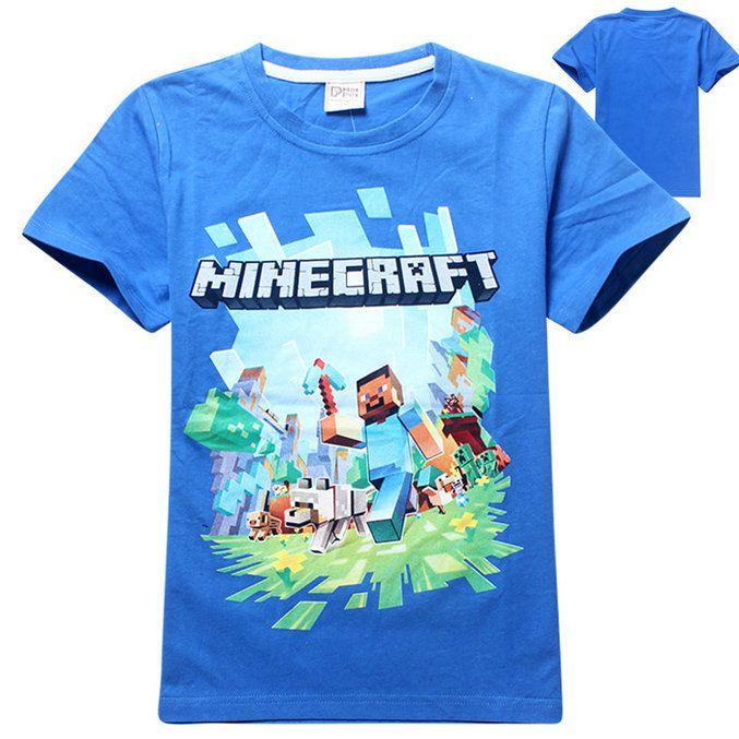 Детская футболка Minecraft голубая