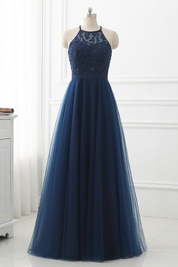 f9d54a35fd1 Navy Blue Lace Strapless Long Prom Dress