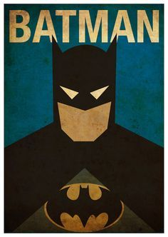 Minimalist Superheroes Vintage Poster Set of 6 Prints