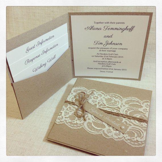 Invitación de boda rústica rústico Vintage por StunningStationery