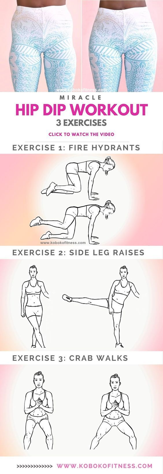 The best hip dip workout exercises with full workout video that is easy to follow. Add this to your butt workout for wider hips and an hour glass figure