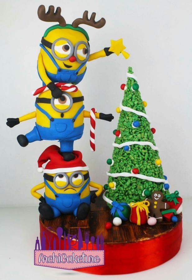 <3 Minions Christmas Antigravity Cake <3 by Archicaketure_Italia