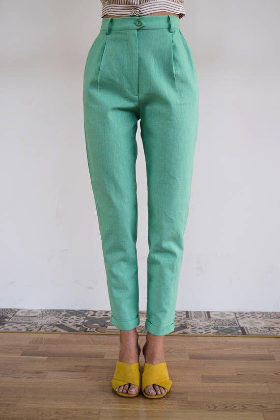 High Waisted Pants / Vintage Pants/ Mint Pants/ High Waist