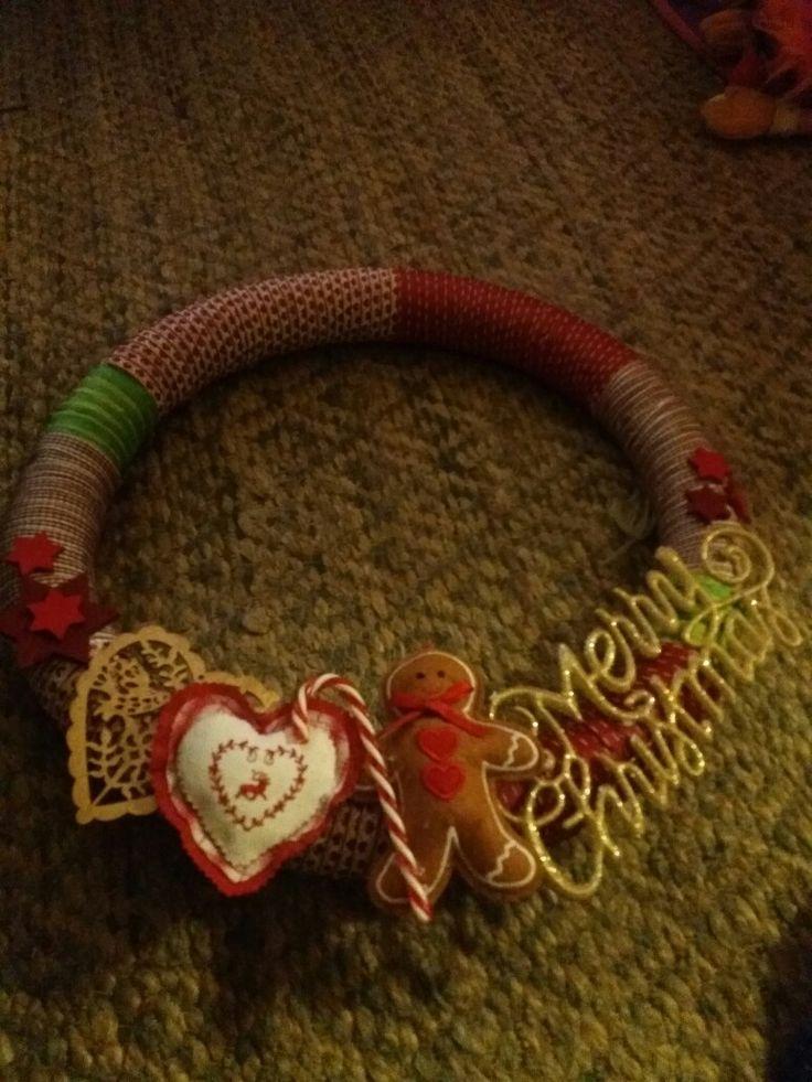 Pool noodle Christmas wreath. Ribbons & glue gun.