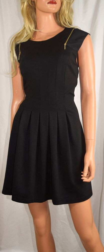 TED BAKER Danu Pleated Fit & Flare Exposed Zipper Black Dress Size 3 UK 8 US #TedBaker #Dress