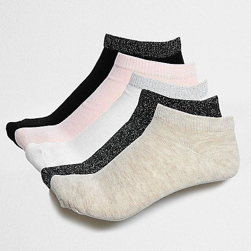 L2017 Black glitter trainer socks multipack