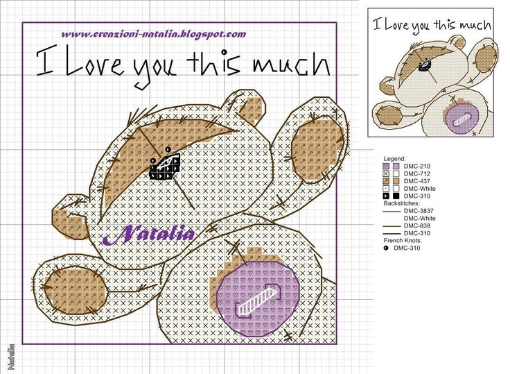"Cross-stitch Fizzy Moon ""I Love You this Much"""