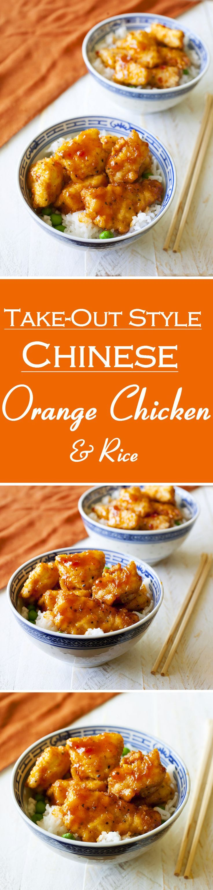 Take-Out Style Chinese Orange Chicken & Rice #recipe #food #chinese #takeout #chicken #rice