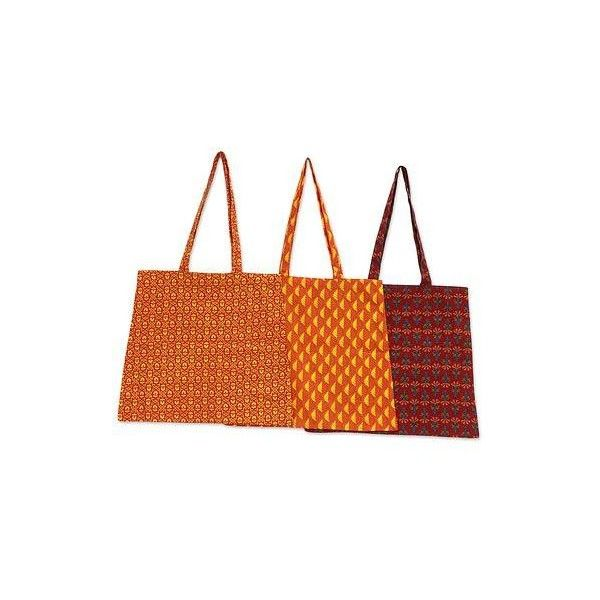 NOVICA Set of 3 Tangerine Cherry and Paprika Cotton Shopping Bags (67 PLN) ❤ liked on Polyvore featuring bags, handbags, tote bags, accessories, clothing & accessories, red, shopping bags, shopping bag, red hand bags and red tote