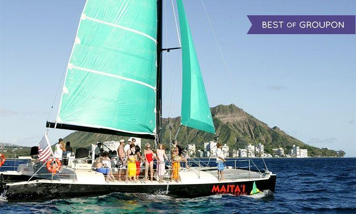 Maita`i Catamaran - Beach at Sheraton Waikiki Hotel: Catamaran TradeWind Sailing Trip for Two, Four, or Six from Maita`i Catamaran (Up to 59% Off)