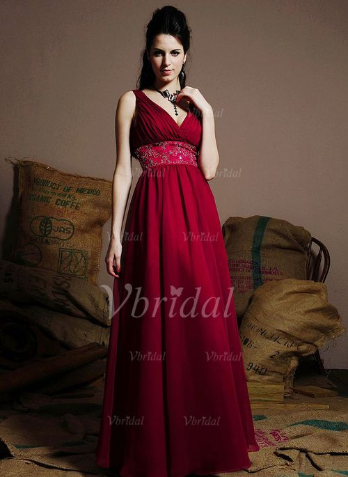 Bridesmaid Dresses - $143.37 - A-Line/Princess V-neck Floor-Length Chiffon…