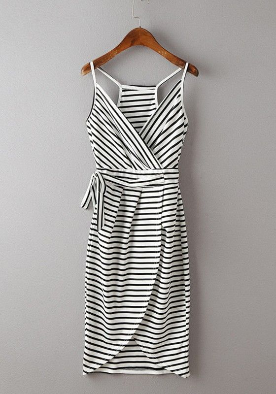 White Striped Condole Belt Irregular V-neck Mini Dress