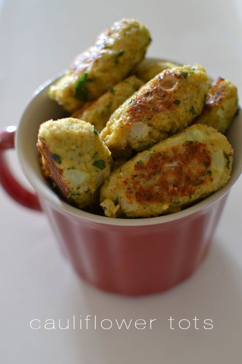 So, I'm rather obsessed with these cauliflower tots. I've been devouring them daily along with the spinach...