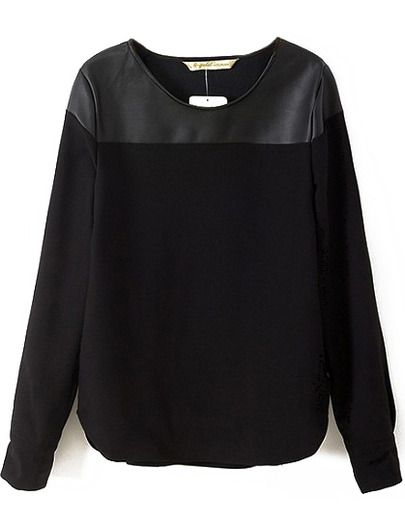 Black Long Sleeve Contrast PU Blouse -SheIn(Sheinside) Mobile Site