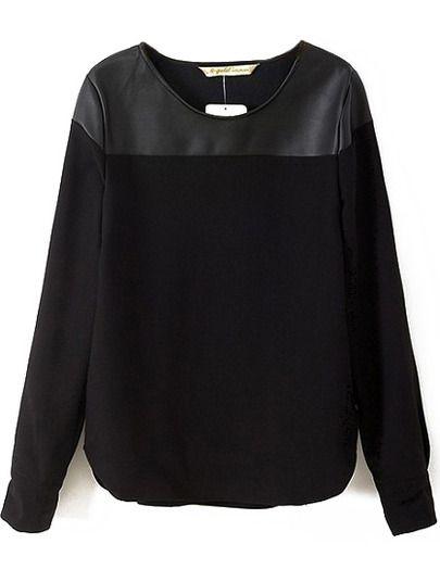 Black Long Sleeve Contrast PU Blouse -SheIn(Sheinside) Mobile Site