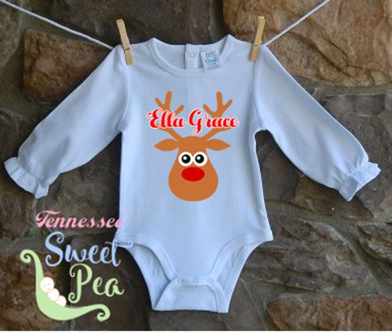 First Christmas, Personalized Christmas Baby, Reindeer Baby Clothing, Custom Christmas Clothing, Baby Name Reveal, New Baby, Holiday Baby by TennesseeSweetPea on Etsy