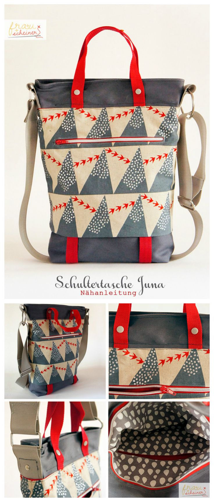 Nähanleitung für eine praktische Schultertasche im Shopper Bag Design / sew your own shopper bag with this diy sewing pattern made by frauscheinerEbooks via DaWanda.com