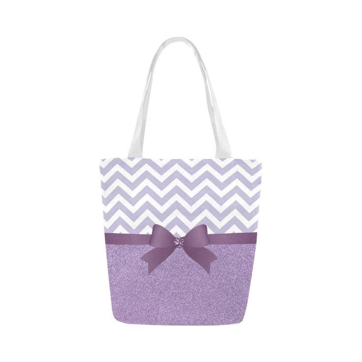 Purple Glitter, Purple Chevron, Purple Bow Canvas Tote Bag (Model 1657)