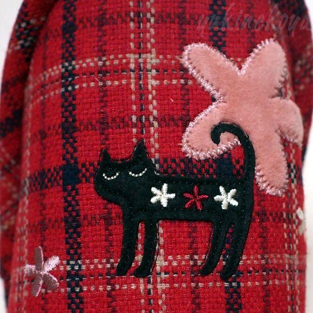 【猫のスリッパ】フラワーキャット チェックスリッパ★ノアファミリー(スリッパ・室内履き)