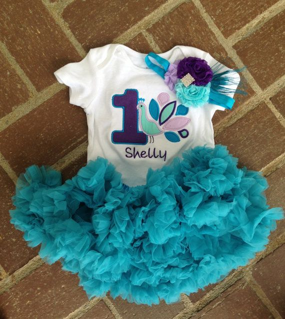 Peacock Birthday Outfit 1st Shirt Headband Turquoise Petti Skirt Custom Personalized On Etsy 4400