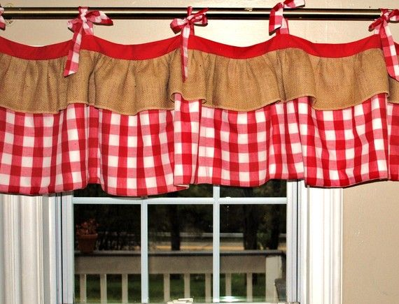 red gingham and burlap decorations | Gingham Window Valance by PaulaAndErika on Etsy