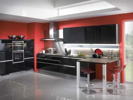 Interior Creative Painted Kitchen Cabinet Color Schemes: Classy Red Kitchen  Ideas And Black Doff Cabinet Over Grey Glossy Chimney Extractor Fan Amazing Pictures