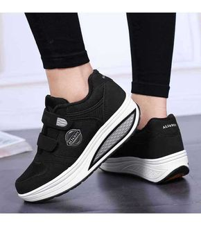 Women's #black winter velcro #rocker bottom sole shoe sneakers logo print,  casual,