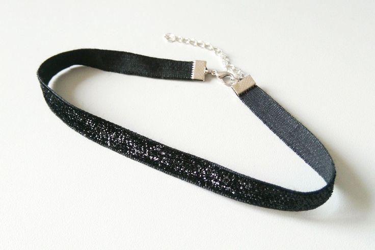 Halsbänder & Choker - Glitzer Choker schwarz | Samt Choker  - ein Designerstück von Nesherim bei DaWanda