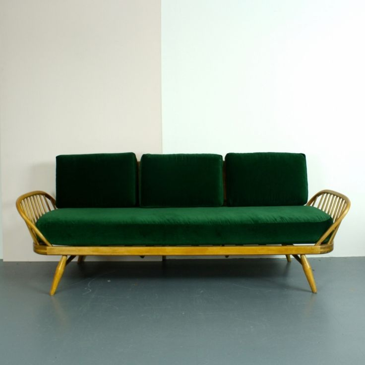 Vintage Ercol Studio Couch with Green Velvet Upholstery