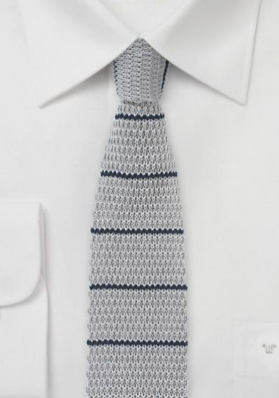 Strick-Krawatte silbergrau navyblau