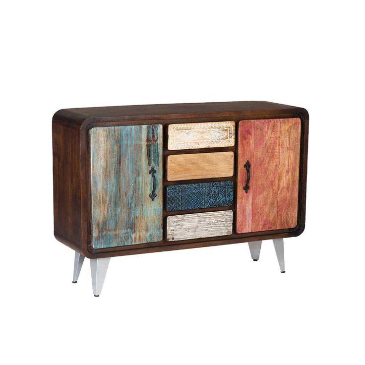 Wohnzimmer Sideboard Retrosca In Braun Bunt Im Retro Design