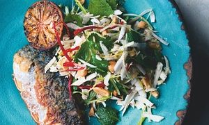 Yotam Ottolenghi's pan-fried mackerel with fresh coconut and peanut salad