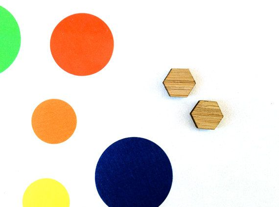 One Pair Mini Wooden 9mm Hexagon Laser Cut by CraftyCutsLaser, $1.25 #craftycutslaser #lasercut #lasercutwood