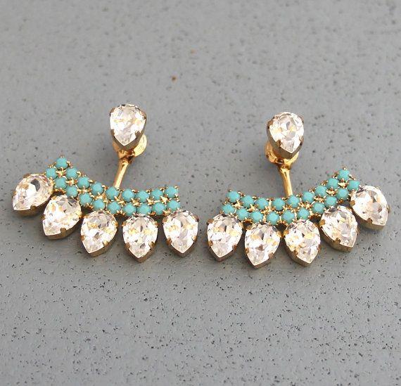Ear Jacket Earrings White Crystal Turquoise Swarovski Ear Jacket Earrings Crystal Earjacket Earrings For Brides, Bridal Something Blue