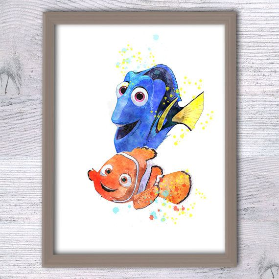 Dory Finding Nemo poster Marlin and Dory Print by ColorfulPoster