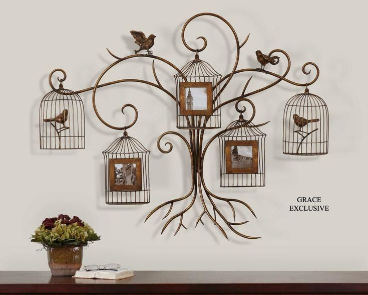 Metal Tree Wall Art Decor | Paza Photo Collage Birds And Tree Metal Wall Art  From