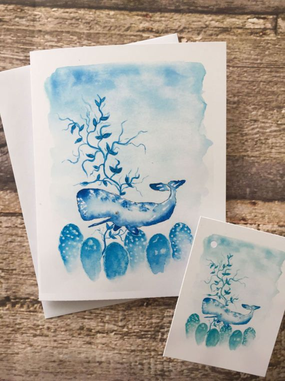 Watercolour illustration greeting card plus matching gift tag.