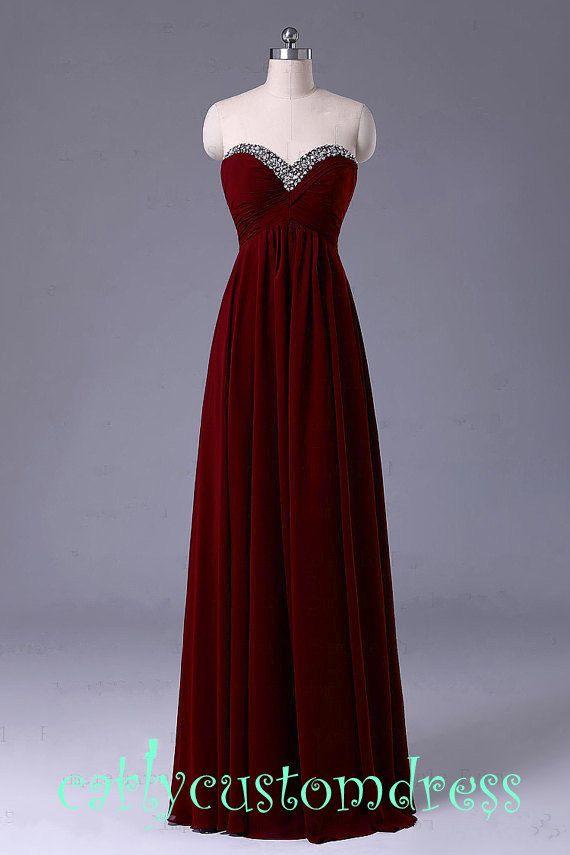 Long Red Prom Dress/Long Beaded Bridesmaid Dress/Red Grey Black Chiffon Evening Dress/Homecoming Dress/Graduation Dress/Formal Dress on Etsy, $99.00
