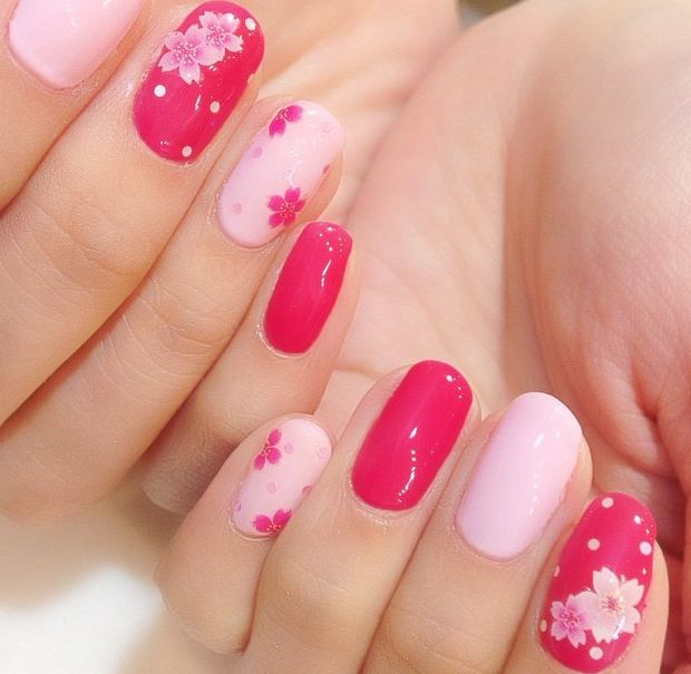 甘い桜 | 春 I dont know what the translation for that is but the nails are pretty!