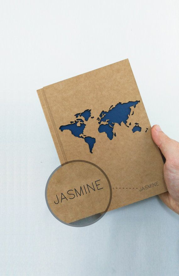 WORLD MAP Travel Journal !  ►Tell us your or his/her NAME to write it on notebook!  This hardcover personalized travel journal will be the best gift for