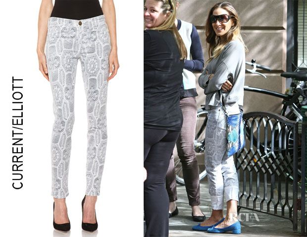 SJP in laid back style Current/Elliott The ankle skinny crochet jeans. 1 of my favorite brands + fashionista's we love to see what she wears next! #bizitalk