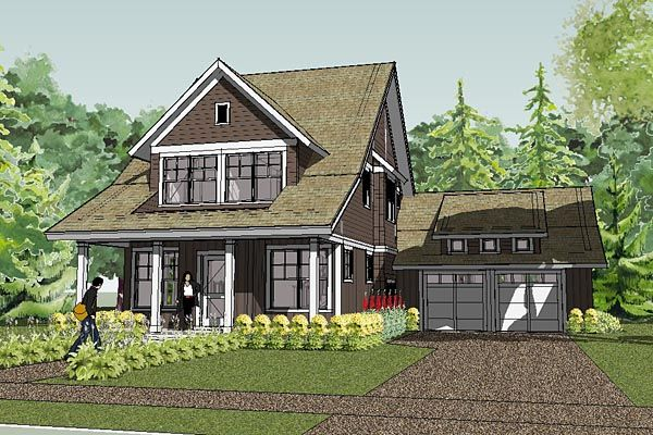 Bungalow cape cod cottage craftsman farmhouse traditional for Garage cottage house plans
