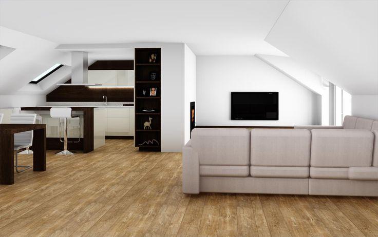 Výsledek obrázku pro podkrovní obývák s kuchyní